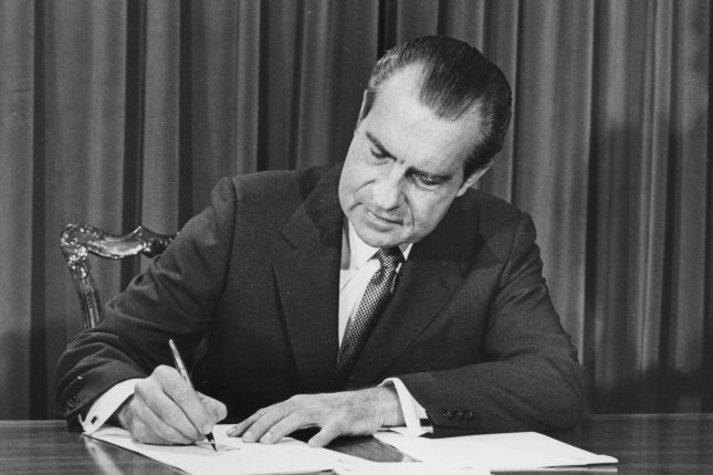 On July 27, 1974, the House judiciary committee voted to recommend impeachment of President Richard Nixon in the Watergate scandal. The 37 president resigned less than two weeks later. (File Photo by Darryl Heikes/UPI
