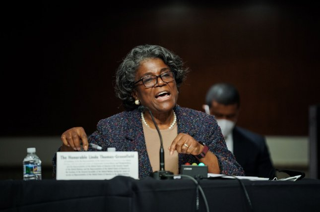 Linda Thomas-Greenfield, President Joe Biden's nominee to serve as U.S. ambassador to the United Nations, answers questions Wednesday at her confirmation hearing before the Senate foreign relations committee, on Capitol Hill in Washington, D.C. Photo by Greg Nash/UPI/Pool