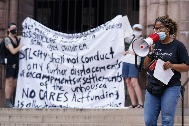 Activists rally outside of City Hall in St. Louis, Mo., on July 7, 2020, to oppose evictions in the city for residents who have been severely affected financially by the coronavirus pandemic. File Photo by Bill Greenblatt/UPI