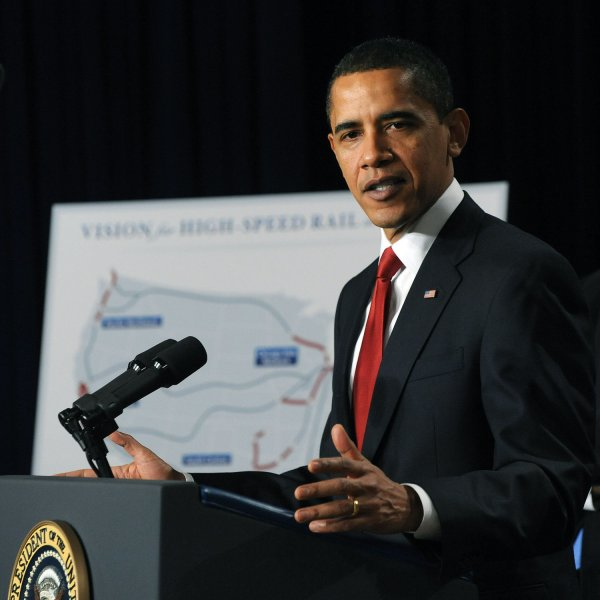 U.S. President Barack Obama discusses his administration's plans for promoting high speed rail service in areas of the United States in the Eisenhower Executive Office Building adjacent to the White House in Washington on April 16, 2009. (UPI Photo/Roger L. Wollenberg)