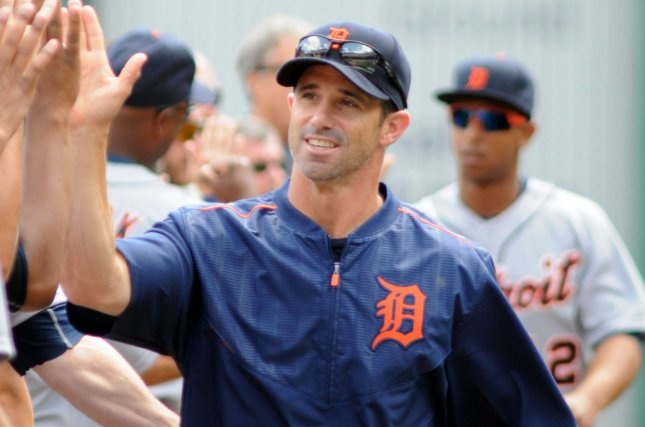 Detroit Tigers manager Brad Ausmus (7) greets his team before the start of the Pittsburgh Pirates Home Opener at PNC Park in Pittsburgh, on April 13, 2015. Photo by Archie Carpenter/UPI