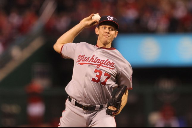 Washington Nationals pitcher Stephen Strasburg delivers a pitch to the St. Louis Cardinals in the second inning at Busch Stadium in St. Louis on April 29, 2016. Photo by Bill Greenblatt/UPI