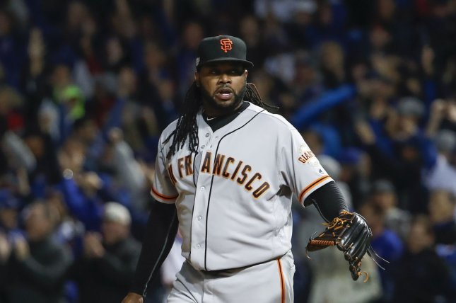 San Francisco Giants pitcher Johnny Cueto is on the 60-day injured list as he recovers from Tommy John surgery. He is expected to miss the entire 2019 season. File Photo by Kamil Krzaczynski/UPI