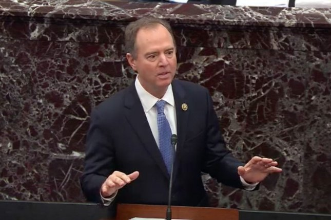 Rep. Adam Schiff said Monday that President Donald Trump has betrayed his oath to protect the U.S. Constitution. UPI Photo
