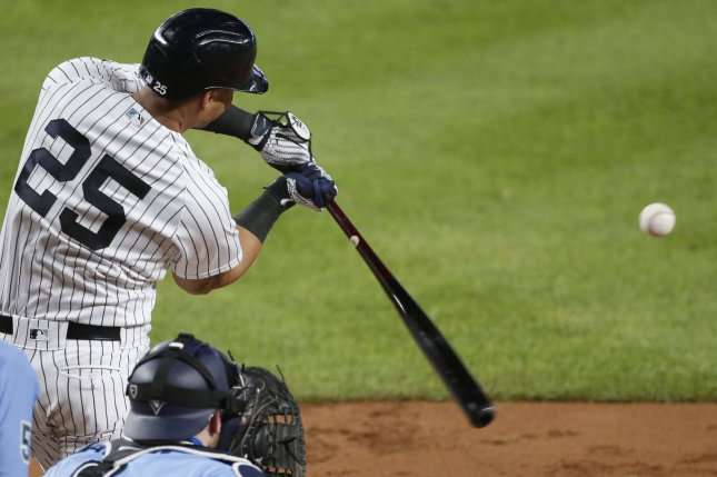 New York Yankees shortstop Gleyber Torres went 1 for 5 with a home run in a win over the Toronto Blue Jays Thursday in New York City. Photo by John Angelillo/UPI