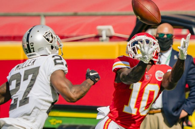 Kansas City Chiefs wide receiver Tyreek Hill (R) has scored six touchdowns over his last four games and should have another great performance in Week 12. File Photo by Kyle Rivas/UPI