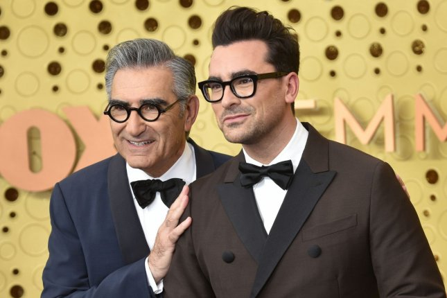 Schitt's Creek co-creators and stars Eugene Levy (L) and Dan Levy arrive for the Emmy Awards on September 2019. The series has received multiple Golden Globe Award nominations, including Best Television Series - Musical or Comedy. File Photo by Christine Chew/UPI