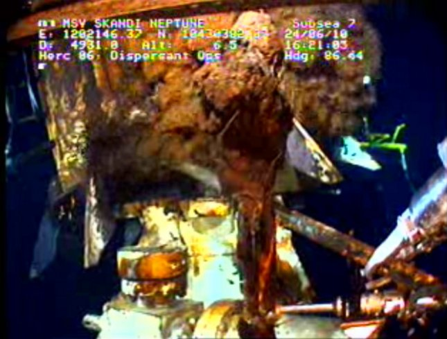 A frame grab of a live video stream of operations to stop the Deepwater Horizon oil spill is seen on June 24, 2010. The Deepwater Horizon oil rig explosion on April 20 that caused a massive oil spill and killed 11 workers continues to spill oil into the Gulf Coast despite BP's effort to cap the leak. UPI/BP