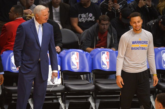44b2b0fb4 Golden State Warriors executive Jerry West jokes with Stephen Curry prior  to game against the Los Angeles Clippers at Staples Center in Los Angeles