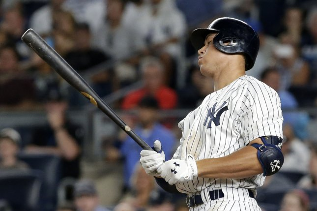 New York Yankees Aaron Judge reacts after striking out in the 4th inning against the Boston Red Sox at Yankee Stadium in New York City on August 13, 2017. Photo by John Angelillo/UPI