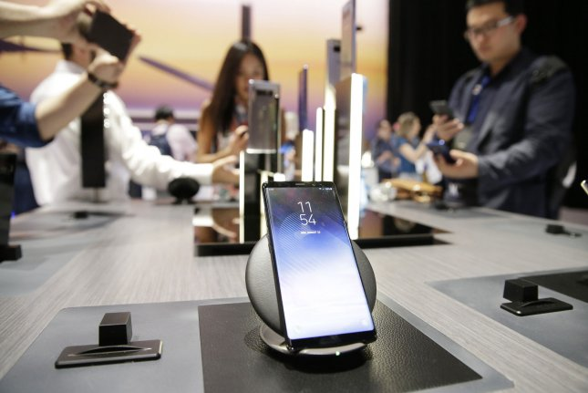 A Samsung Galaxy Note 8 is seen on display at a Samsung event in New York City on August 23, 2017. A California jury ordered Samsung Thursday to pay Apple $539 million for infringing on design and utility patents. File Photo by John Angelillo/UPI