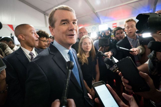 Candidate Michael Bennet speaks to reporters July 31 after a Democratic primary debate in Detroit, Mich. File Photo by Kevin Dietsch/UPI