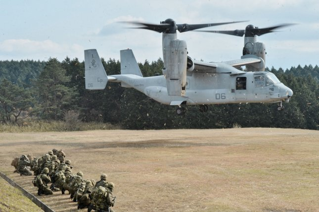 A U.S. Marine Corps MV-22 Osprey is seen in action during the Forest Light 15 joint military exercise with the 42nd Regiment, 8th Division, Western Army, Japan Ground Self-Defense Force at the Oyanohara Training Area in Yamato, Kumamoto prefecture in Japan. File Photo by Keizo Mori/UPI