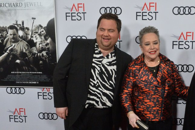 Paul Walter Hauser (L) and Kathy Bates play Richard and Bobi Jewell in the film Richard Jewell. Photo by Jim Ruymen/UPI