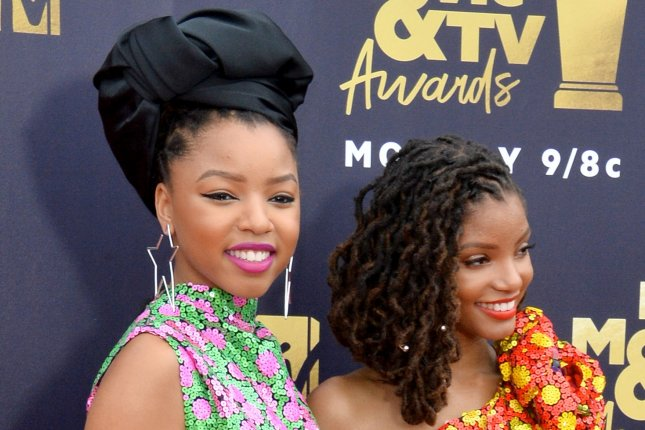 Chloe Bailey (L), pictured with Halle Bailey, discussed and performed her version of Nina Simone's Feeling Good on Good Morning America. File Photo by Jim Ruymen/UPI