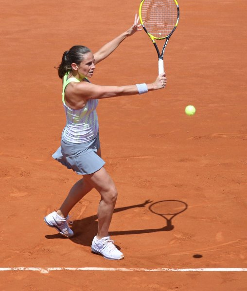 Roberta Vinci, shown during this year's French Open, will play the first singles match Saturday as her Italian team takes on Russia in the Fed Cup final this weekend. UPI/David Silpa