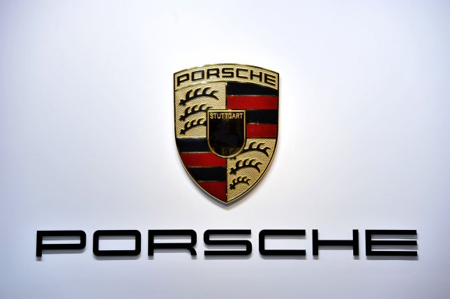 The Porsche logo is displayed at the 2013 North American International Auto Show in Detroit on January 14, 2013. UPI/Brian Kersey