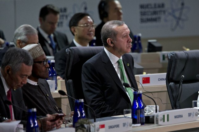 Turkish President Recep Tayyip Erdogan, seen here in April at the Nuclear Security Summit in Washington, D.C., said Ankara is preparing retaliatory measures in response to Germany's parliamentary resolution declaring the World War I mass killings of Armenians by Ottoman Turks as a genocide. Pool photo by Andrew Harrer/UPI
