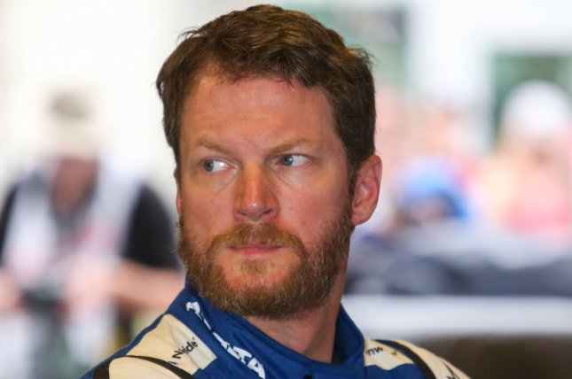 Dale Earnhardt Jr awaits qualifying for the 2017 Brickyard 400, at the Indianapolis Motor Speedway on July 22, 2017 in Indianapolis, Indiana. File photo by Mike Gentry/UPI
