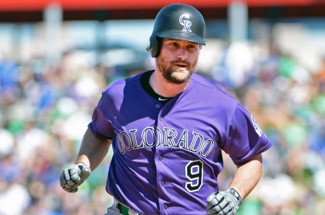 Colorado Rockies infielder Daniel Murphy had one hit in two games before landing on the 10-day injured list Monday due to a broken finger. File Photo by Art Foxall/UPI
