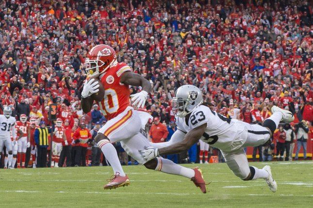 Kansas City Chiefs wide receiver Tyreek Hill (10) had two catches in the first quarterback before sustaining a game-ending shoulder injury during a game against the Jacksonville Jaguars Sunday in Jacksonville. File Photo by Kyle Rivas/UPI