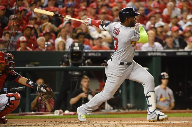 Former St. Louis Cardinals outfielder Marcell Ozuna had a .241 batting average with 29 home runs and 89 RBIs last season. File Photo by Kevin Dietsch/UPI