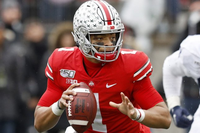 Ohio State Buckeyes quarterback Justin Fields might not play until the spring -- if at all -- after the Big Ten postponed fall sports Tuesday due to the coronavirus pandemic. File Photo by Aaron Josefczyk/UPI