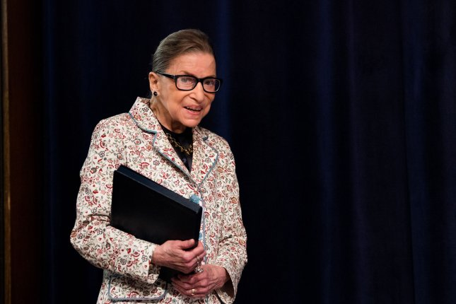 Supreme Court Justice Ruth Bader Ginsburg died two months after announcing her liver cancer had returned. She was 87. File Photo by Kevin Dietsch/UPI