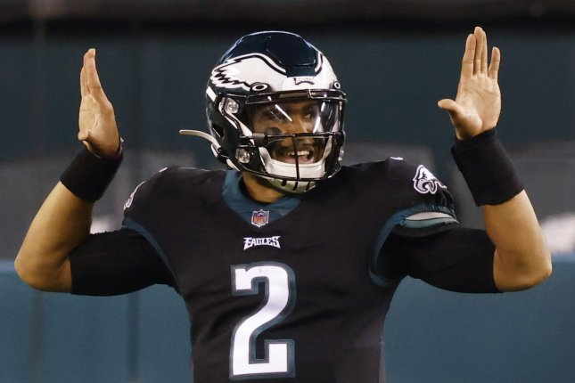 Jalen Hurts of the Philadelphia Eagles is my No. 2 fantasy football quarterback for Week 16. File Photo by John Angelillo/UPI