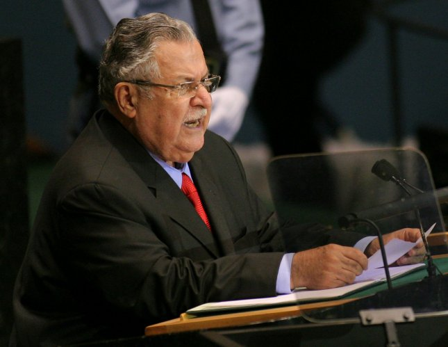 Iraq President Jalal Talabani addresses the 64th General Assembly at the United Nations on September 24, 2009 in New York City. UPI /Monika Graff