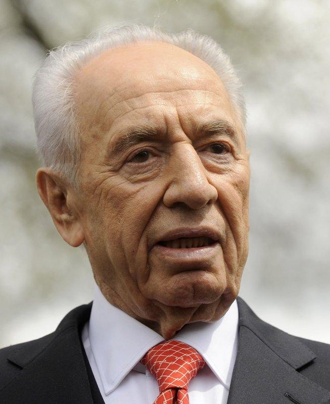 Israeli President Shimon Peres speaks to the media after meeting with U.S. President Barack Obama in Washington April 5, 2011. UPI/Roger L. Wollenberg