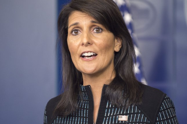U.N. Ambassador Nikki Haley appeared on Sunday's Face the Nation and defended U.S, President Donald Trump's plan to move the U.S. Embassy in Israel from Tel Aviv to Jerusalem. Photo by Pat Benic/UPI