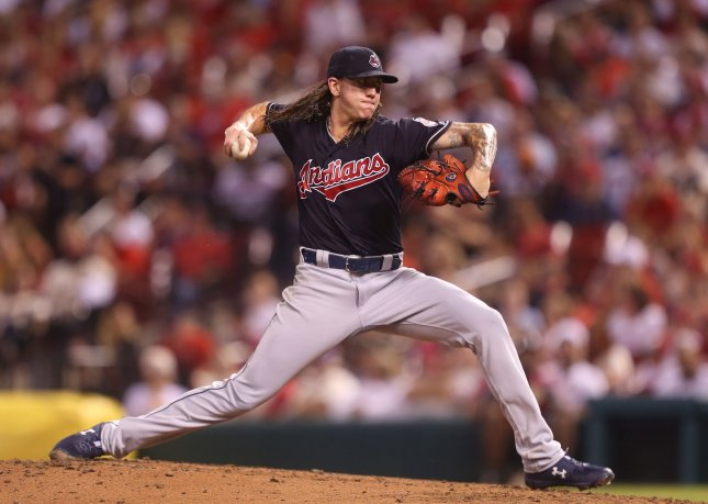 Mike Clevinger and the Cleveland Indians take on the Kansas City Royals on Tuesday. Photo by Bill Greenblatt/UPI