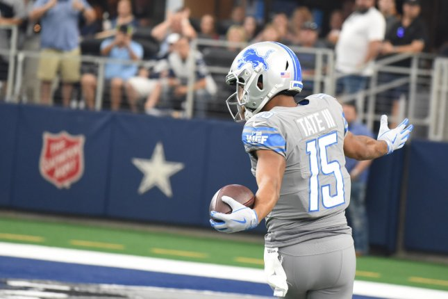 Former Detroit Lions and current Philadelphia Eagles receiver Golden Tate scores on a 45-yard catch in the first quarter against the Dallas Cowboys on Sept. 30. Tate will now face the Cowboys as a member of his new team. Photo by Ian Halperin/UPI