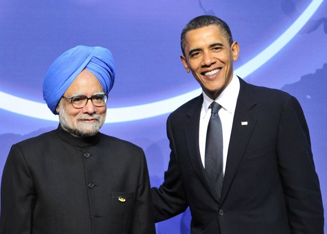 United States President Barack Obama welcomes Prime Minister Manmohan Singh of India at the Nuclear Security Summit at the Washington Convention Center, Monday, April 12, 2010 in Washington. Obama travels to India Friday, the first stop on his Asian tour. UPI/Ron Sachs/Pool