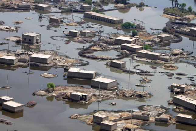 An aerial view from a CH-46E Sea Knight helicopter shows extensive flood damage during humanitarian assistance efforts in the southern region of Pakistan, September 4, 2010. UPI/Paul Duncan/USMC