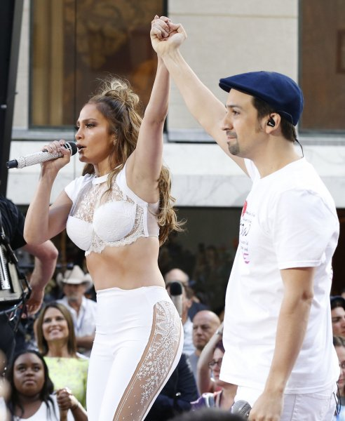 Jennifer Lopez and Lin-Manuel Miranda perform on Today at Rockefeller Center in New York City on July 11, 2016. For the first time, Jennifer Lopez and Lin-Manuel Miranda performed their new duet Love Make the World Go Round benefitting the victims of the Pulse nightclub shooting in Orlando. Photo by John Angelillo/UPI