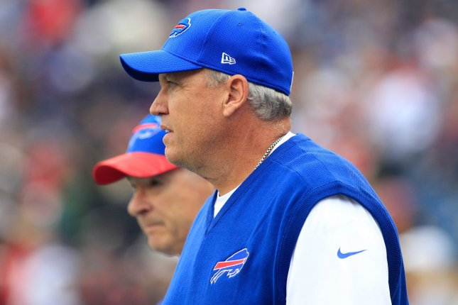Buffalo Bills head coach Rex Ryan takes the field before the game against the New England Patriots at Gillette Stadium in Foxborough, Massachusetts on October 2, 2016. The Bills defeated the Patriots 16-0. Photo by Matthew Healey/ UPI