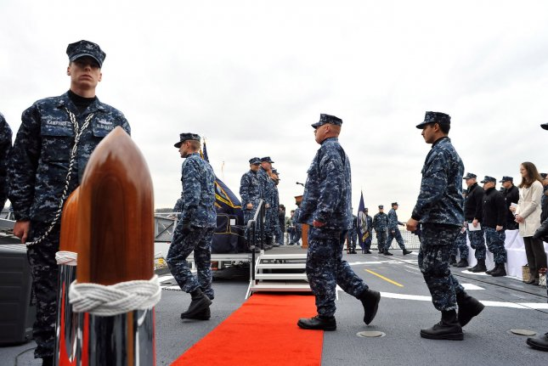 The USS Antietam crew walk during a command ceremony aboard the missile cruiser at Yokosuka U.S. Naval Base in Japan. The Antietam ran aground of the Japanese coast on Tuesday. File Photo by Keizo Mori/UPI