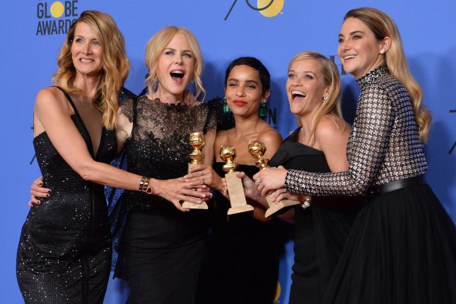Reese Witherspoon (second from right), pictured with Laura Dern, Nicole Kidman, Zoe Kravitz and Shailene Woodley (L-R), enjoyed an outing with Kidman, Kravitz, Woodley and their Big Little Lies co-stars Sunday. File Photo by Jim Ruymen/UPI