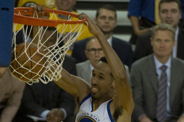 Golden State Warriors veteran Shaun Livingston scored eight points, including a big third-quarter slam in a win against the Detroit Pistons Sunday in Oakland. File Photo by Terry Schmitt/UPI