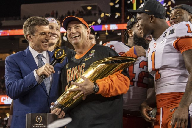 Clemson Tigers coach Dabo Swinney (C) has led the program to national championships in two of the last three seasons. File Photo by Ken Levine/UPI