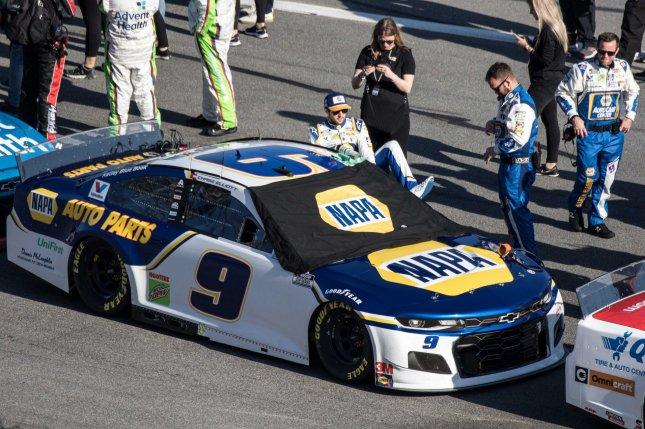 Chase Elliott (9) won his second consecutive race Thursday in the Alsco Uniforms 500 at Charlotte Motor Speedway after he won Tuesday's Truck Series event in Charlotte, N.C. File Photo by Edwin Locke/UPI