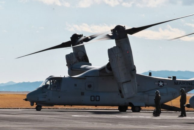 The Osprey's vertical propeller orientation allows it the functionality of a helicopter. Photo by Keizo Mori/UPI