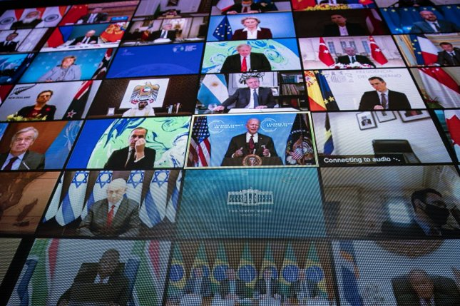 A video monitor shows President Joe Biden speaking during a virtual Leaders Summit on Climate on Thursday in the East Room of the White House in Washington, D.C. Pool Photo by Al Drago/UPI