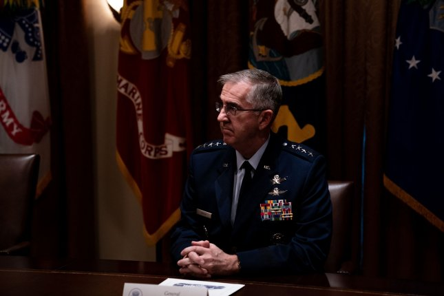 General John Hyten, Vice Chairman of the Joint Chiefs of Staff, said this week that he'd like to have overhead sensors that see everything in order to monitor the plethora of current threats -- which he sees as a challenge for everything we have. Pool Photo by Anna Moneymaker/UPI