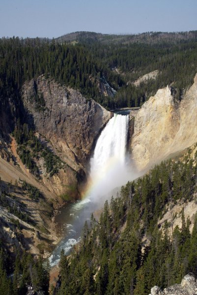 The Yellowstone River tumbles over the Lower Falls as it plunges through the Grand Canyon of the Yellowstone in Yellowstone National Park, Wyoming, July 29, 2006. (UPI Photo/A.J. Sisco)