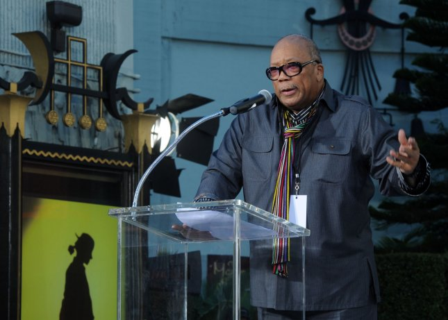 Record producer Quincy Jones makes comments about the late pop star Michael Jackson during a hand & footprint ceremony at Grauman's Chinese Theatre in the Hollywood section of Los Angeles on January 26, 2012. UPI/Jim Ruymen