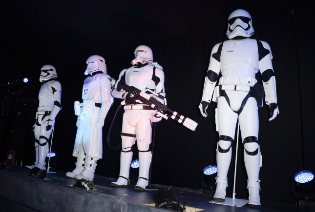 Themed decor and characters from the films are seen at the premiere of the film Star Wars: The Force Awakens held in the Hollywood section of Los Angeles on December 14, 2015. Photo by Phil McCarten/UPI