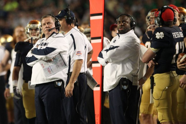 Notre Dame football coach Brian Kelly reportedly is exploring other coaching options after the Fighting Irish's disappointing season continued with a loss Saturday to the USC Trojans. File photo Marc Serota/UPI